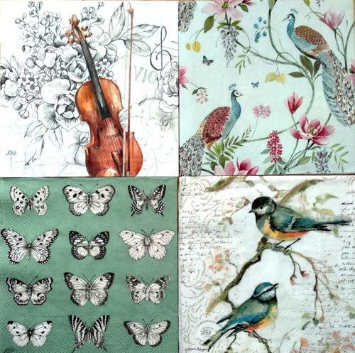 4 Different Designs Lunch Paper Napkins for Decoupage, Party, Animals Music 2/3
