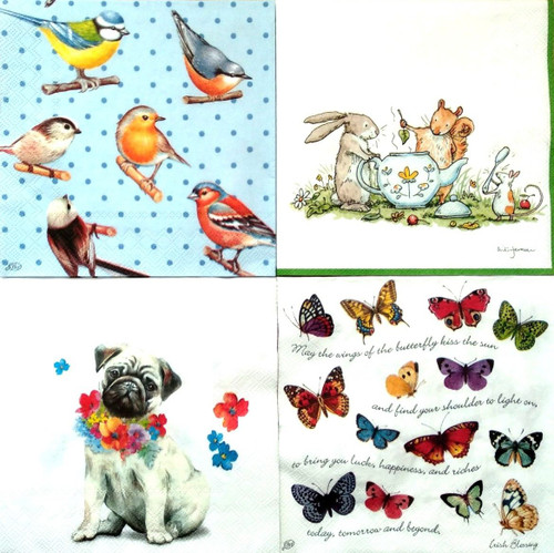 4 Different Designs Lunch Paper Napkins for Decoupage, Party, Animals Floral 2/2