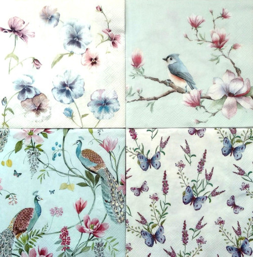4 Vintage Table Paper Napkins for Party Lunch Decoupage Animals Floral Mix 2/1