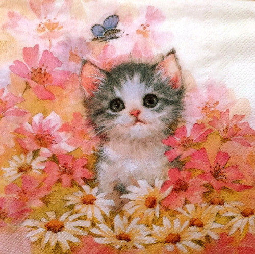 4 Single Lunch Paper Napkins for Decoupage Party Craft Vintage Pink Little Cat