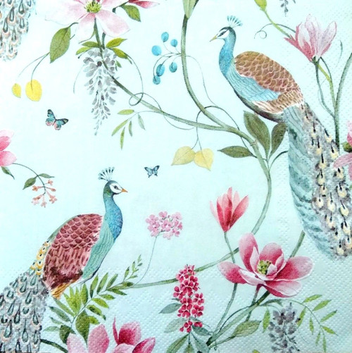 4 Single Lunch Paper Napkins for Decoupage Party Craft Vintage Peacock Garden