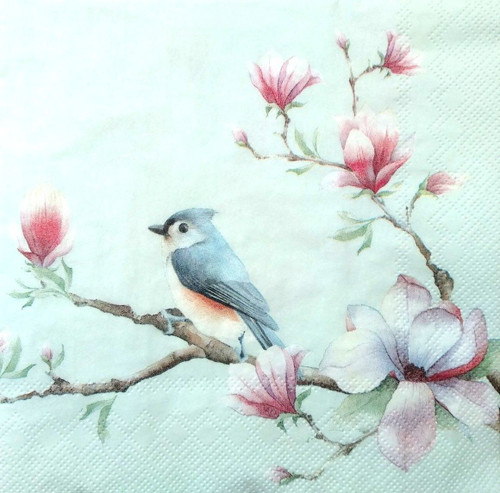 4 Lunch Paper Napkins  -  Light Floral Bird
