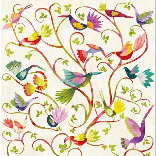 4 Single Lunch Paper Napkins for Decoupage Craft Napkin Magic Birds and Floral