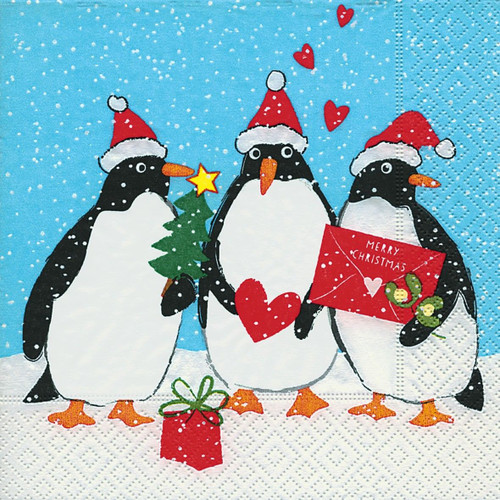 4 Lunch Paper Napkins for Decoupage Party Table Craft Arctic Penguins