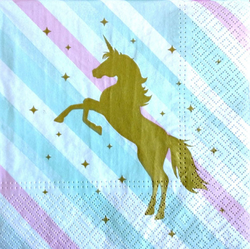 4 Lunch Paper Napkins for Decoupage Party Table Craft Gold Unicorn, Stars