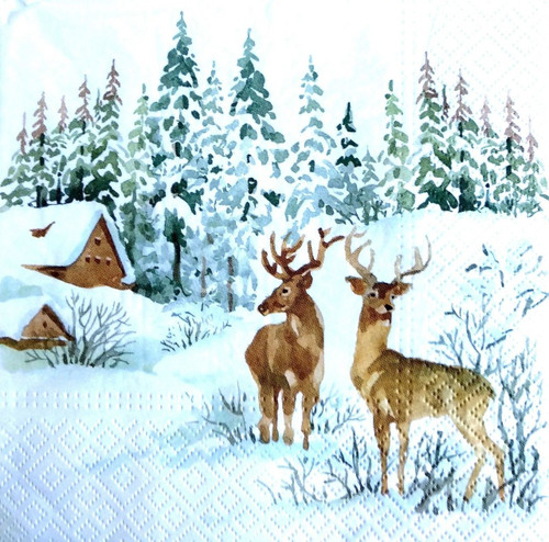 4 Lunch Paper Napkins  -    Winter Land and Deers