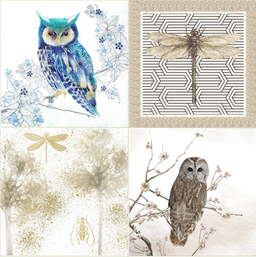 4 Different  Vintage Table Paper Napkins for Party Lunch Decoupage Mix Animals Owl Designs