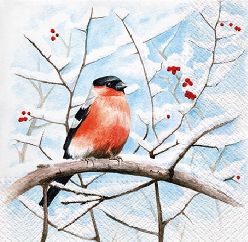 4 Lunch Paper Napkins for Decoupage Party Table Craft Winter Bird on a branch