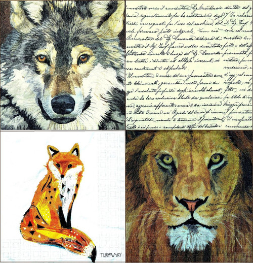 4 Vintage Table Paper Napkins for Party Lunch Decoupage Animals Mix 2/2