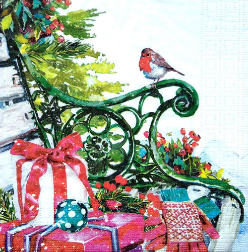 4 Lunch Paper Napkins for Decoupage Party Table Craft Vintage Winter Bird