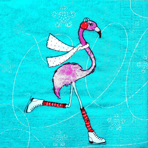 4 Lunch Paper Napkins for Decoupage Party Table Craft Vintage Winter Flamingo