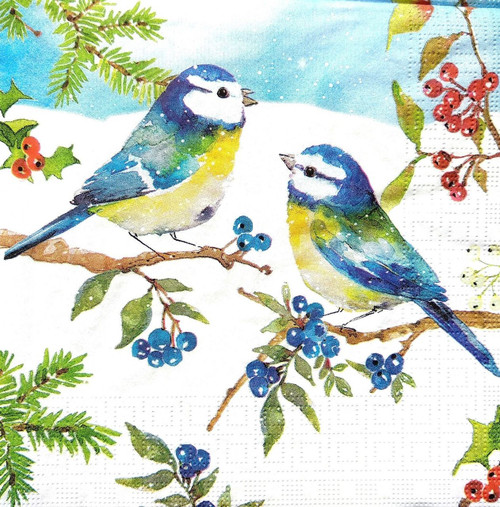 4 Lunch Paper Napkins for Decoupage Party Table Craft Vintage Blue Birds