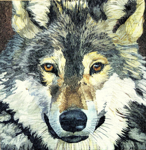 4 Lunch Paper Napkins for Decoupage Party Table Craft Vintage Winter Wolf