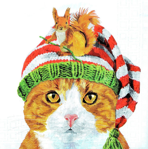 4 Lunch Paper Napkins for Decoupage Party Table Craft Vintage Winter Cat