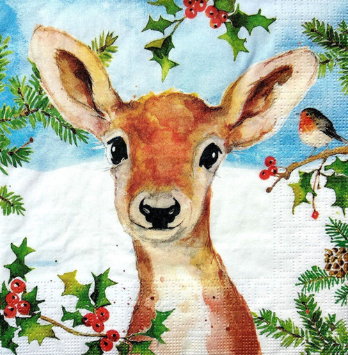 4 Lunch Paper Napkins for Decoupage Party Table Craft Vintage Roe-Deer