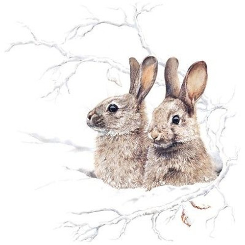 4 Lunch Paper Napkins for Decoupage Party Table Craft Winter Morning Rabbits