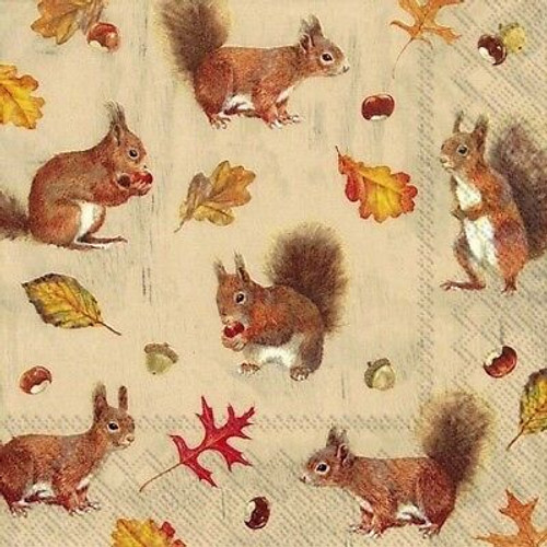 4 Lunch Paper Napkins for Decoupage Party Table Craft Vintage Squirrels Family