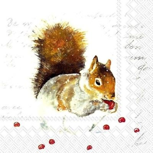 4 Lunch Paper Napkins for Decoupage Party Table Craft Vintage Sweet Squirrel