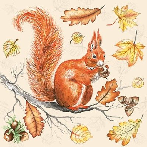 4 Lunch Paper Napkins for Decoupage Party Table Craft Vintage Squirrel on Branch