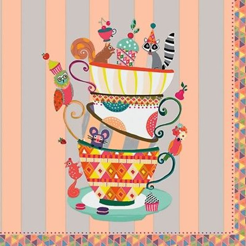 4 Lunch Paper Napkins for Decoupage Craft Vintage Napkin 5 o´clock Cups