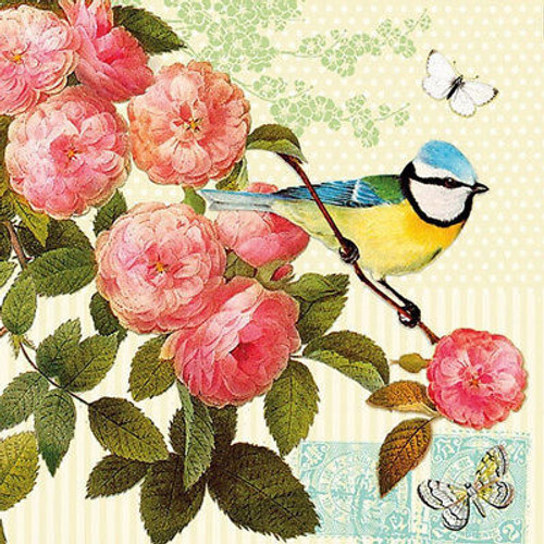 4 Lunch Paper Napkins for Decoupage Craft Vintage Napkin Colourful Bird