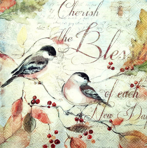 4 Lunch Paper Napkins for Decoupage Party Table Craft Vintage Swing Bird Autumn