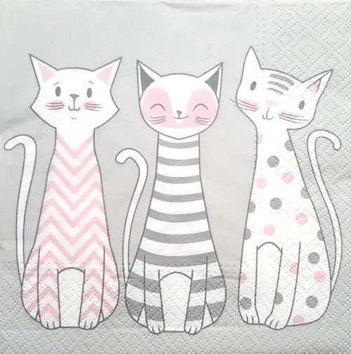 4 Lunch Paper Napkins Decoupage Craft Vintage Party Napkin Tree Kittens