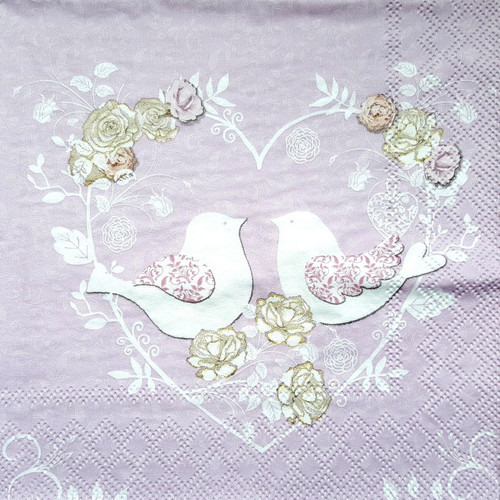 4 Vintage Paper Napkins for Decoupage Lunch Party Craft Weeding Light Purple