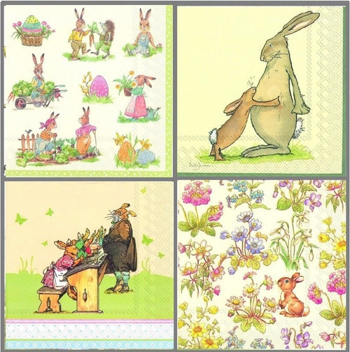 4 Vintage Table Paper Napkins for Party Lunch Decoupage Easter Rabbits 1/1