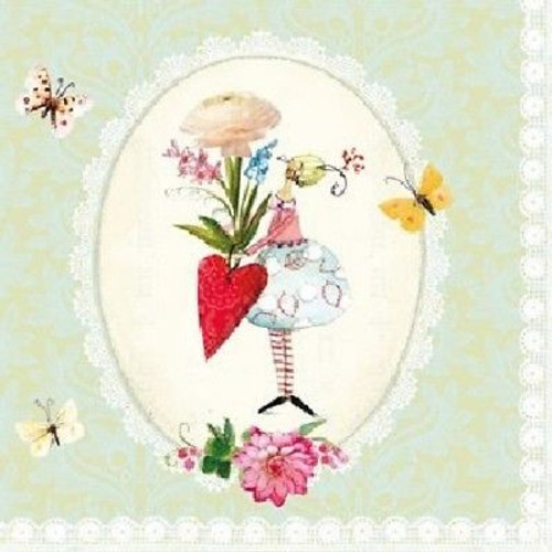 4 Lunch Paper Napkins Decoupage Craft Vintage Napkin Miss Rabbit and Heart
