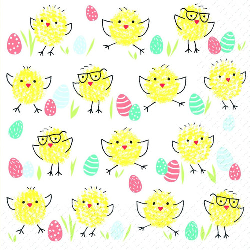 4 Lunch Paper Napkins for Decoupage Craft Vintage Napkin Happy Chicks