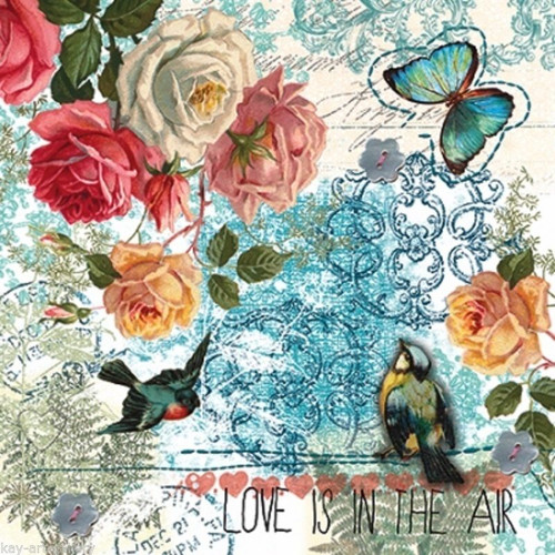 4 Single Vintage Table Paper Napkins - LOVE IS  IN THE AIR