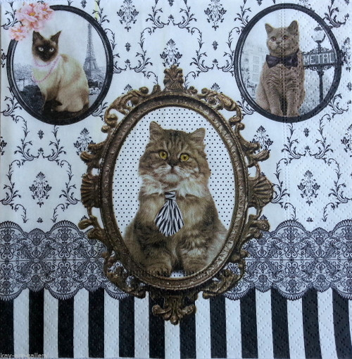 4 Vintage Paper Napkins For Decoupage - Cats In the Frame