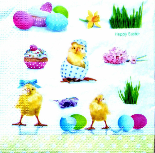 4 Vintage Paper Napkins for Decoupage  - Easter Chicken Party