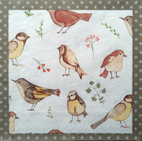 4 Vintage paper Napkins- Small Birds