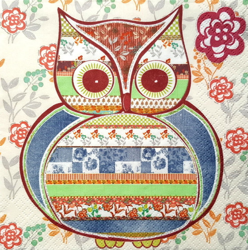 4 Single Lunch Paper Napkins for Decoupage  - Rainbow Owl