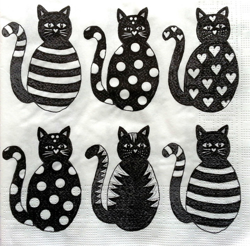 4 Lunch Paper Napkins for Decoupage - Black Cats
