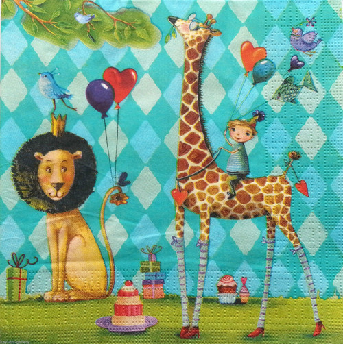4 Lunch Paper Napkins for Decoupage - Birthday Animals