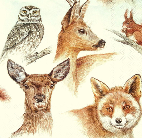 4 Lunch Paper Napkins for Decoupage-Autumn Animals