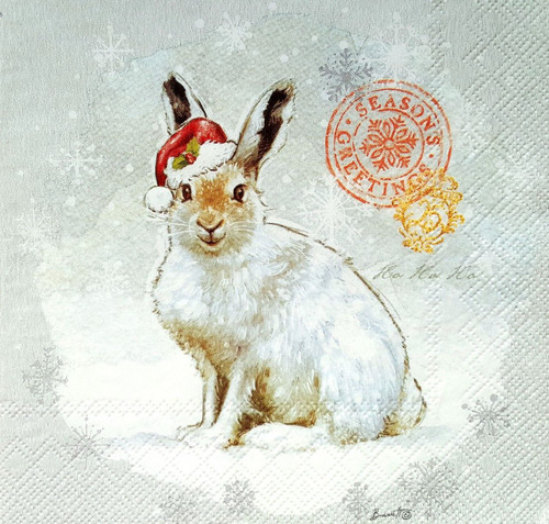 4 Lunch Paper Napkins for Decoupage- Winter Happy Rabbit