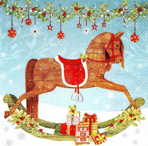 4 Lunch Paper Napkins for Decoupage -Winter Rocking Horse
