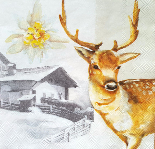 4 Lunch Paper Napkins for Decoupage -Winter Deer