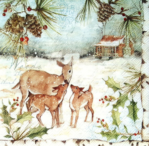 4 Lunch Paper Napkins for Decoupage -Winter   Family Deer