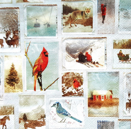 4 Lunch Paper Napkins for Decoupage - Winter Animals Pictures