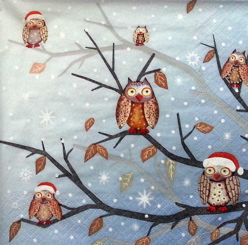 4 Lunch Paper Napkins for Decoupage - Winter Owls