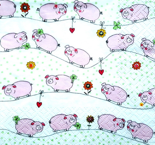 4 Single Lunch Paper Napkins for Decoupage  -  Little Pink Pigs