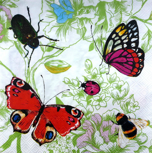 4 Single Lunch Paper Napkins for Decoupage  - Butterflies