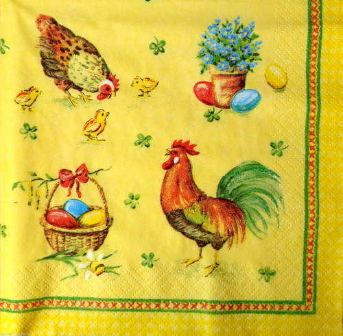 4 Single Lunch Paper Napkins for Decoupage  - Easter Hens