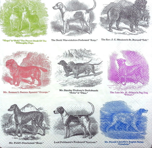 4 Single Lunch Paper Napkins for Decoupage  - Dogs Family