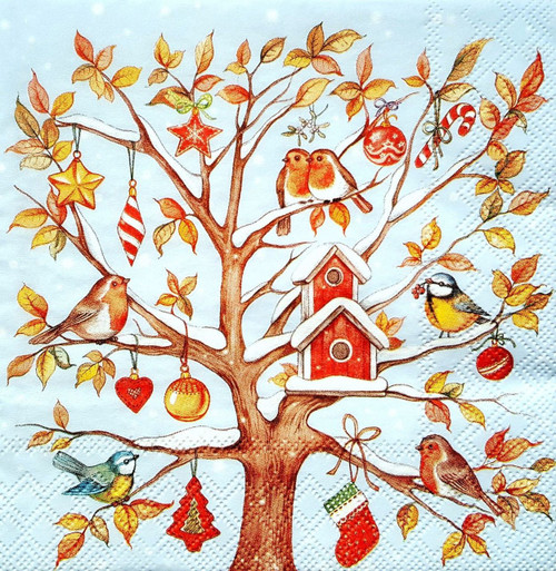 4 Single Lunch Paper Napkins for Decoupage  - Blue Tree ans Birds